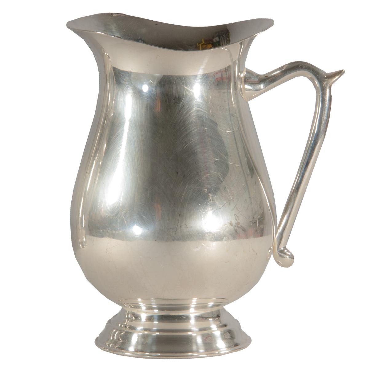 silver water pitcher 64 oz celebrations party rentals. Black Bedroom Furniture Sets. Home Design Ideas