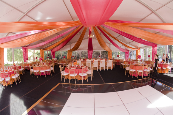 Tent Swags u2013 Hot Pink and Orange & Color Changing LED u2013 Celebrations! Party Rentals