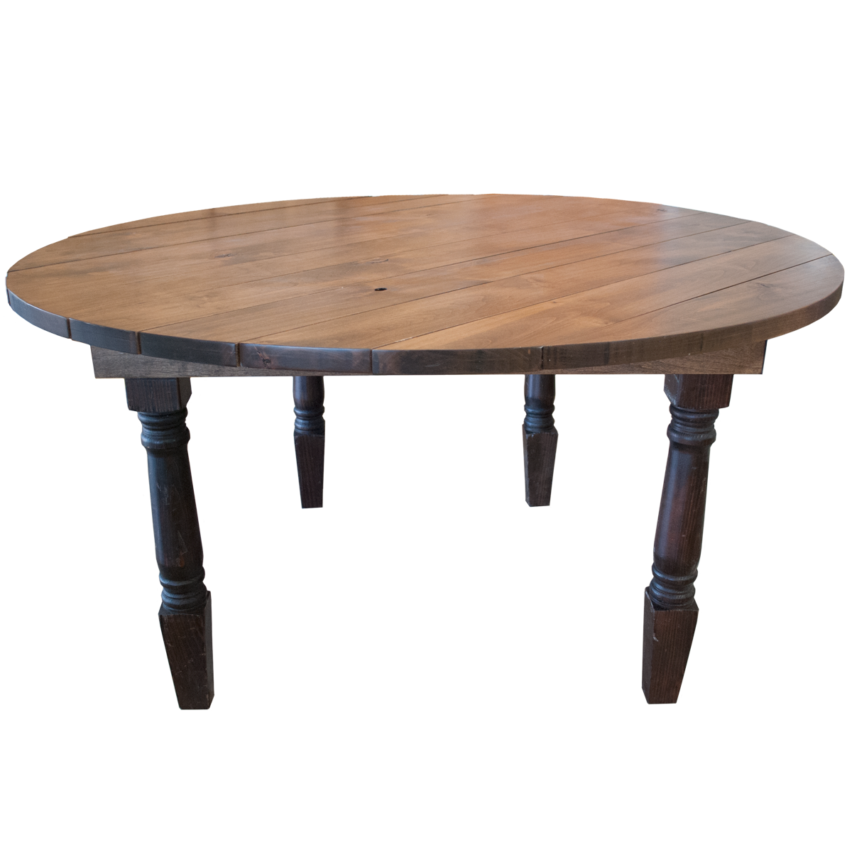 Walnut Stained Farm Style Round Table