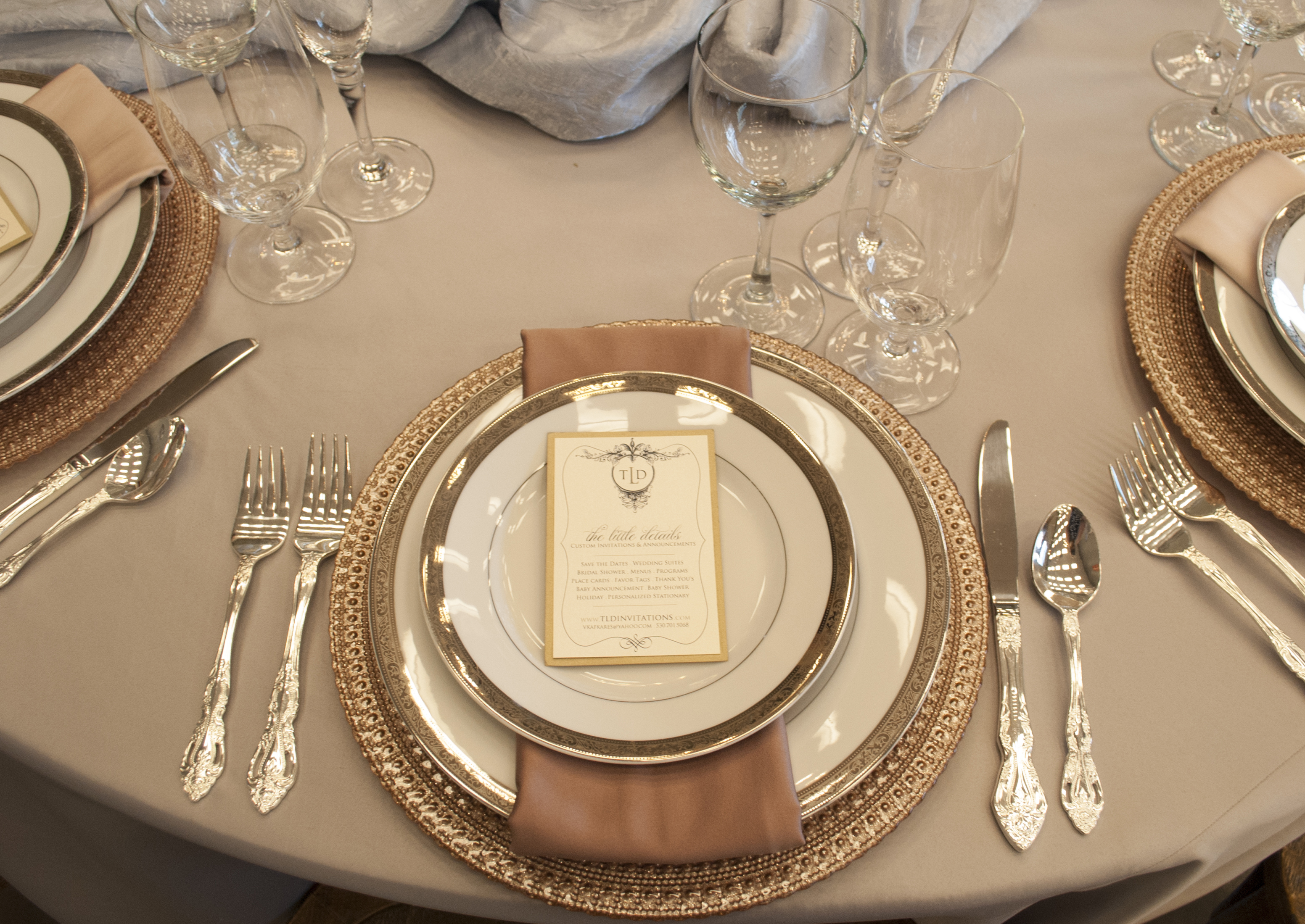 Or make it more romantic by using Ava Blush Chargers with Royce Silver Flatware and soft grey linens. & Romantic.jpg