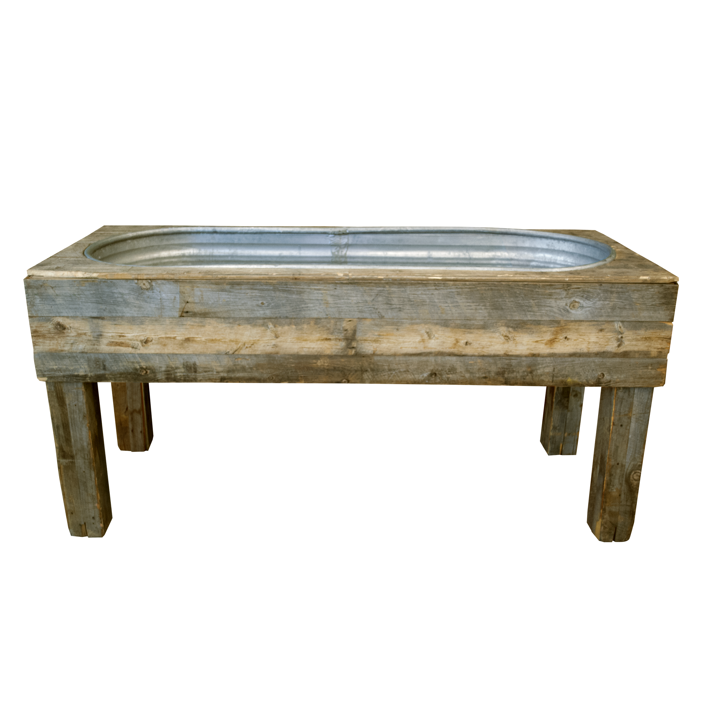 Galvanized Trough With Wood Stand