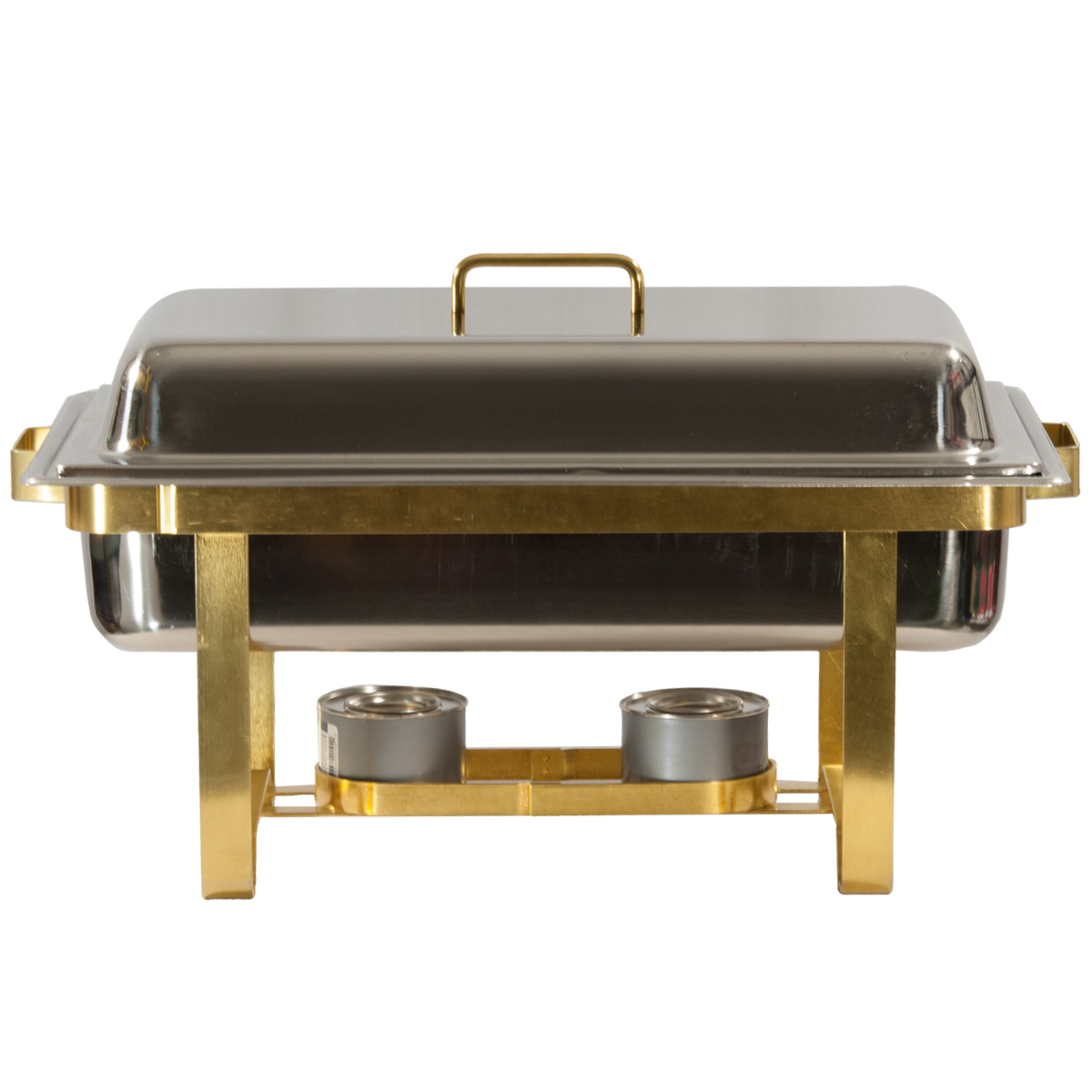 8 Quart Stainless With Brass Trim Chafing Dish