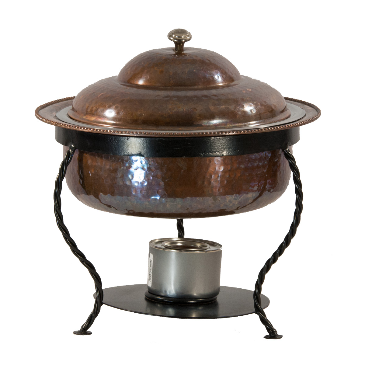 Copper Hammered Chafer With Wrought Iron Base
