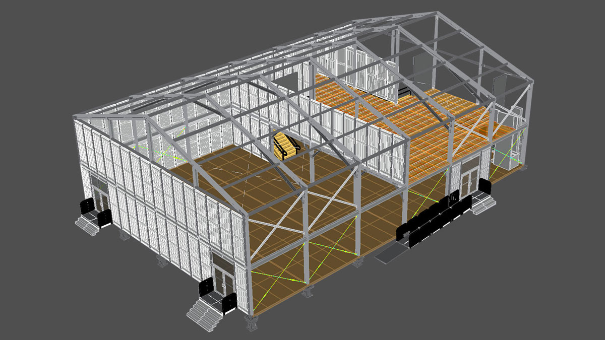 CAD rendering of double decker tent