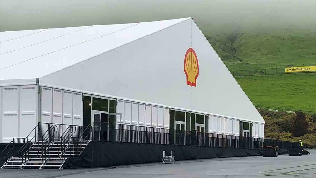 Shell branded tent with stairs