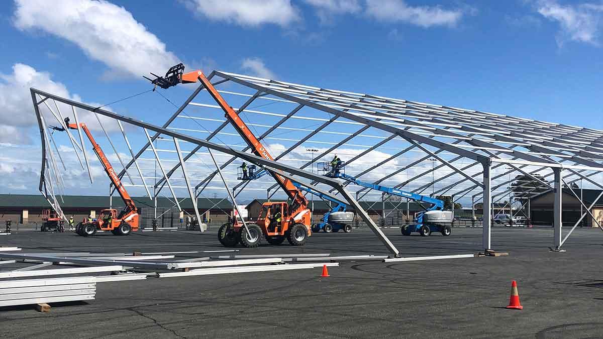 cranes building tent