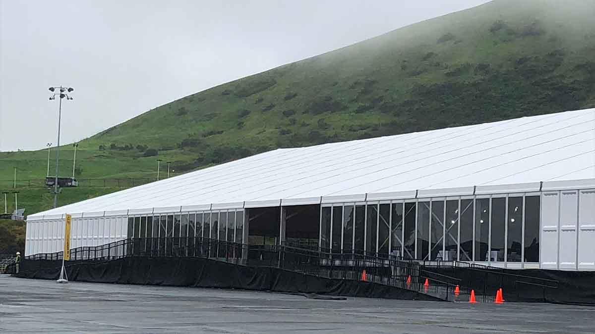 exterior of tent
