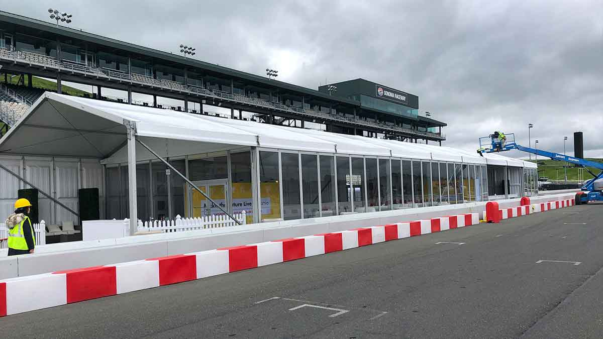 tent with patio on raceway