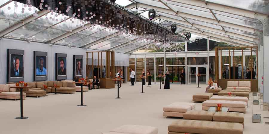 interior of vanity fair tent