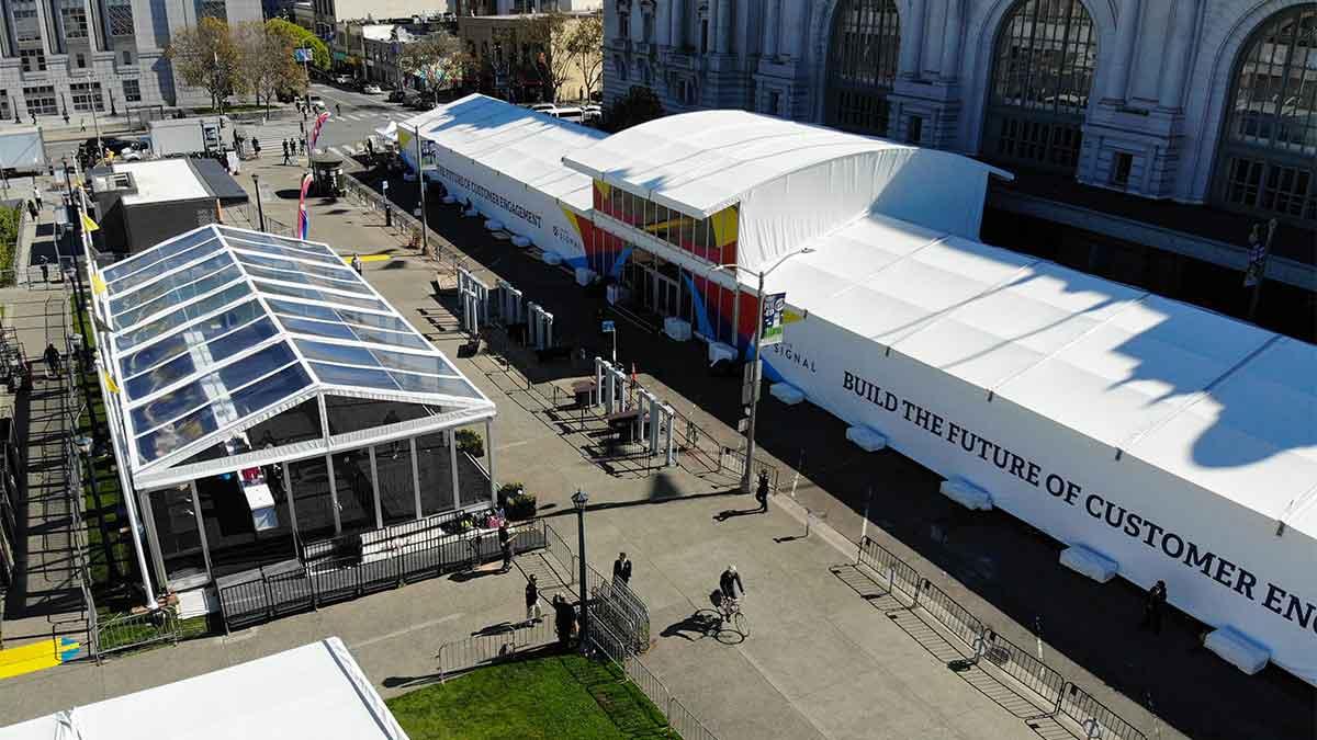 aerial of custom tents