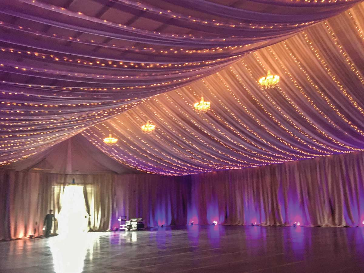 warehouse with draping and lights