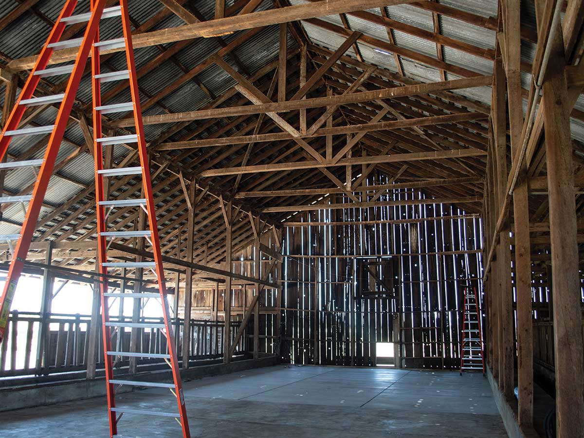 inside of a barn