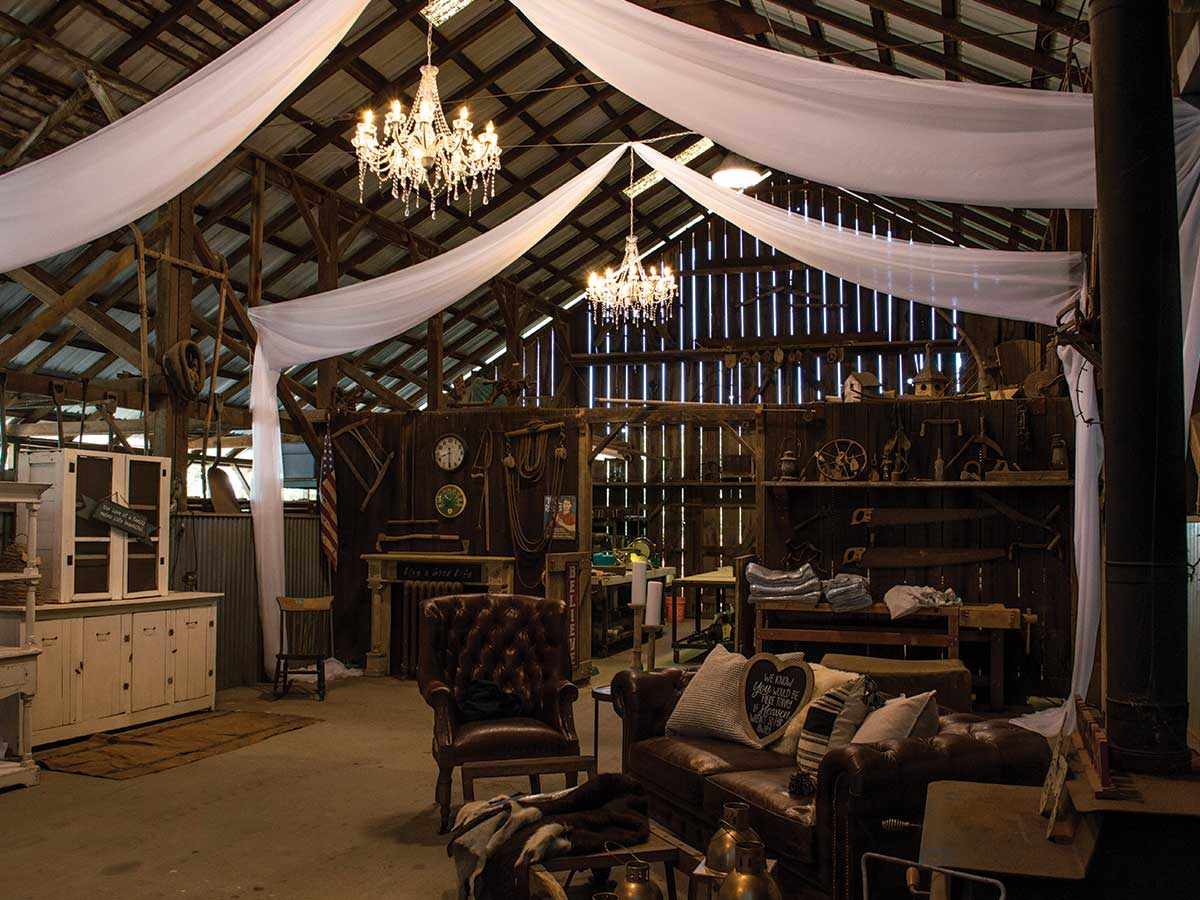 barn with swagging and furniture