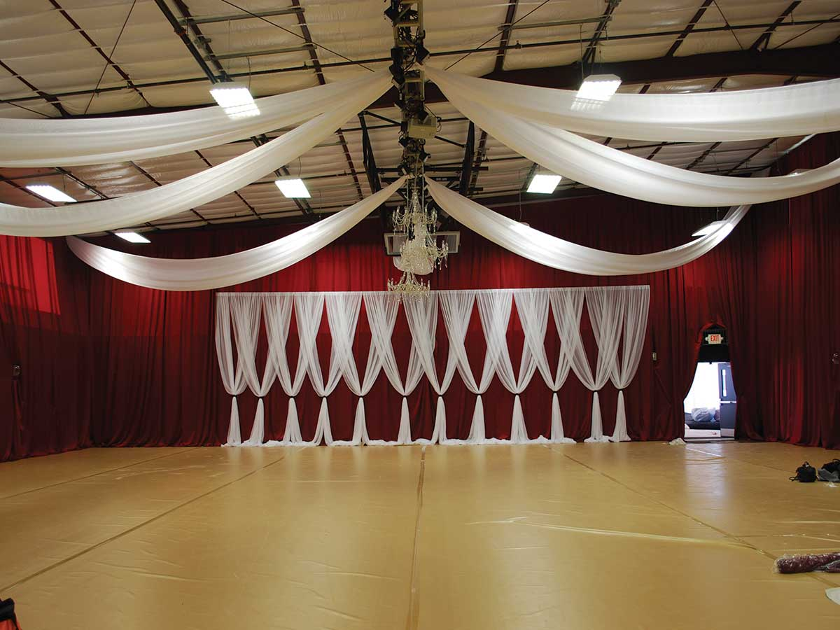 fabric draping on wall and ceiling