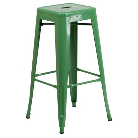 green backless barstool
