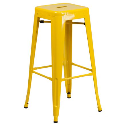 yellow backless barstool