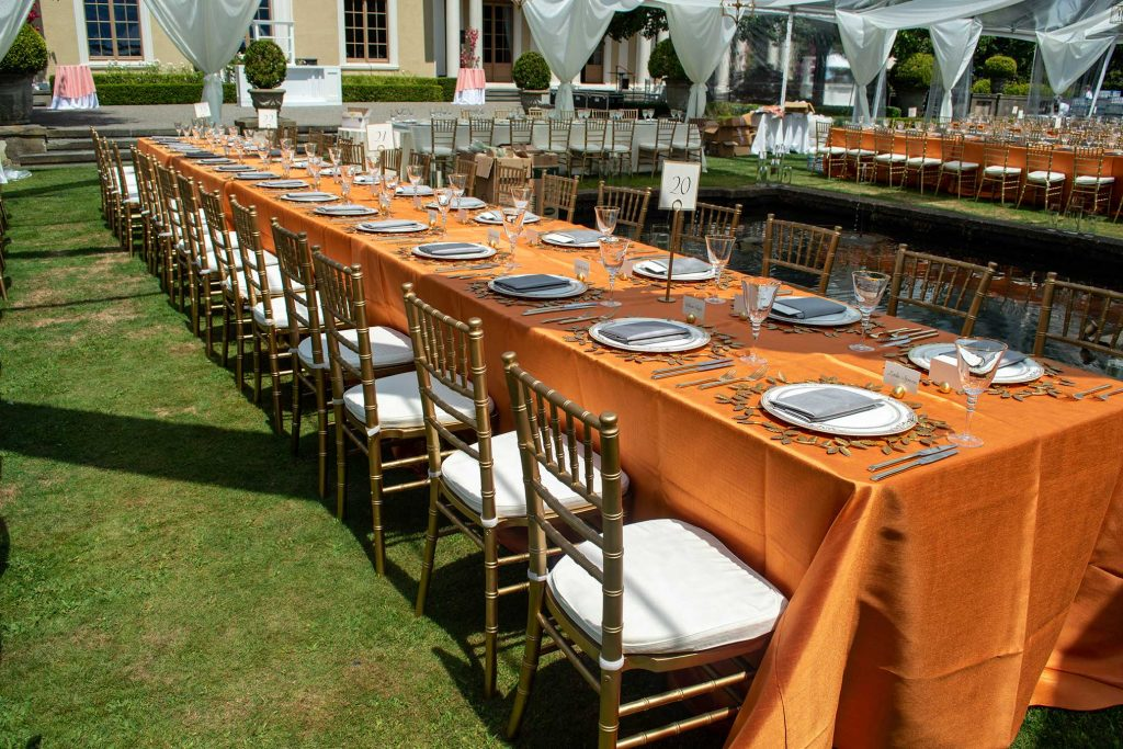 Orange and Grey Table Linens