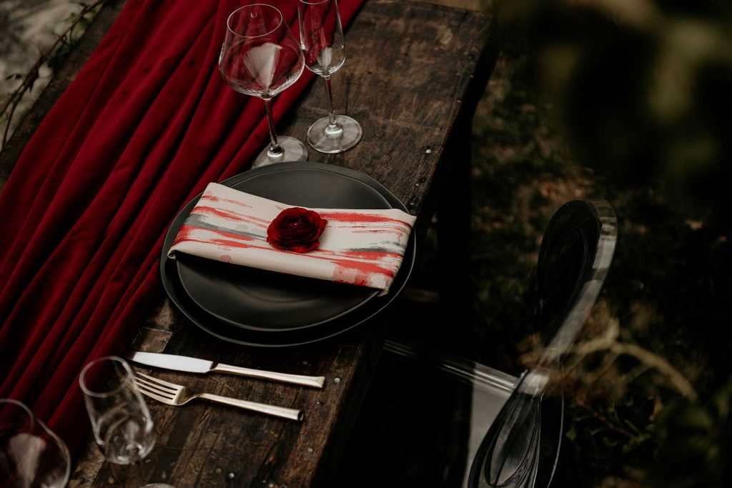 Black and red velvet table linens