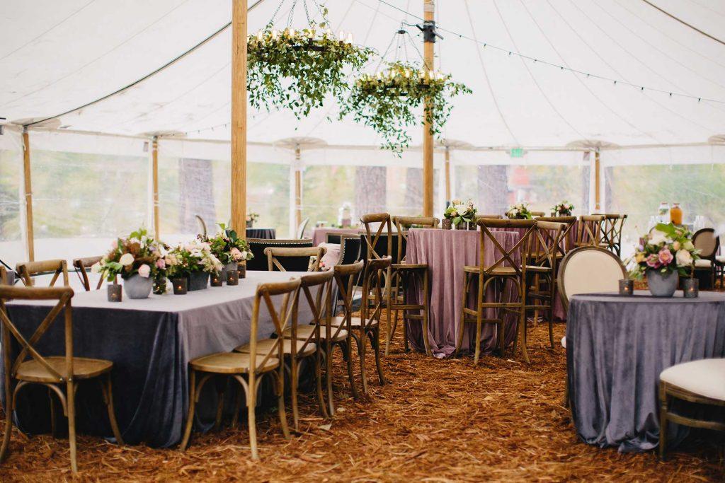 Velvet linens in Sailcloth tent.
