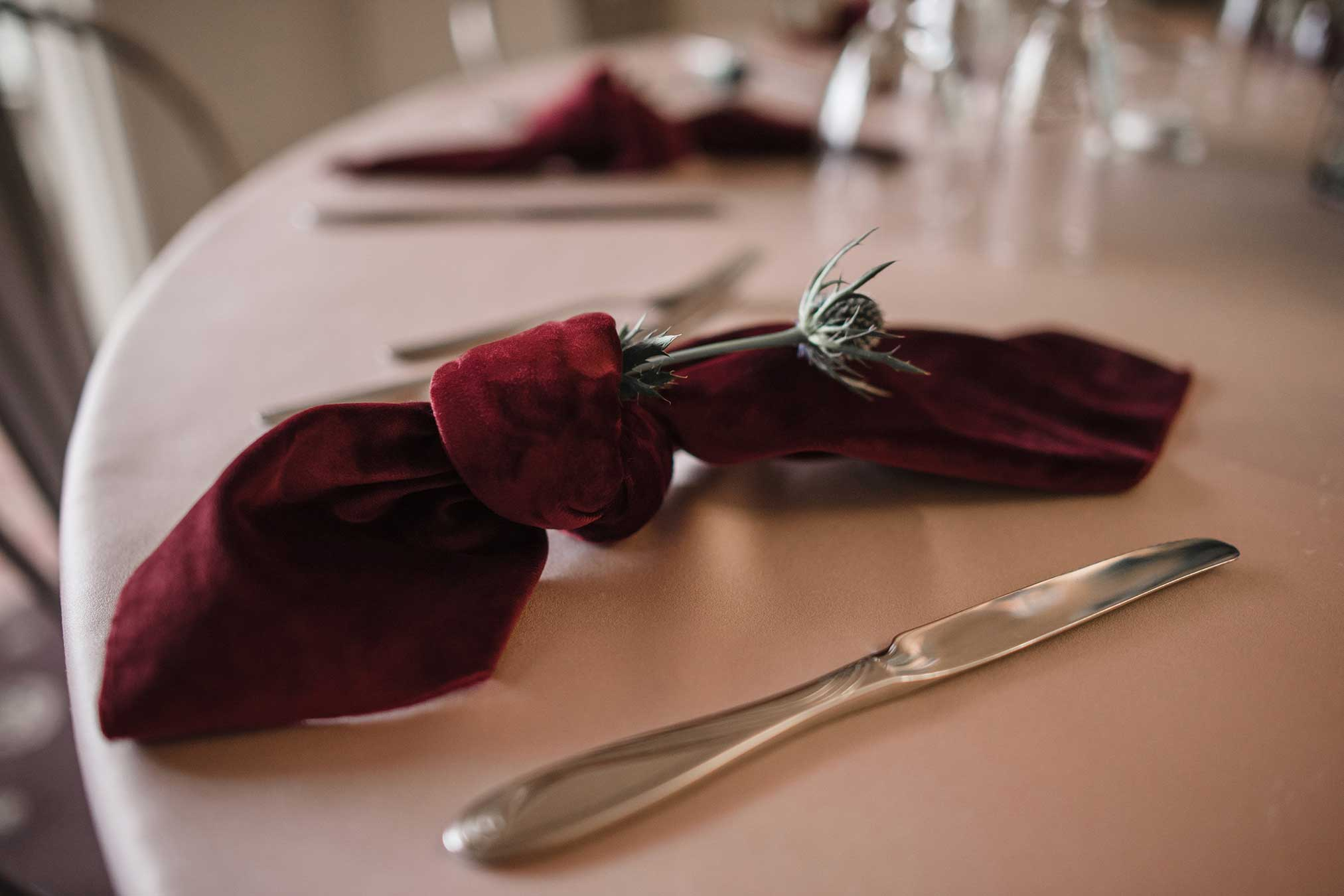 Burgundy and blush table linens